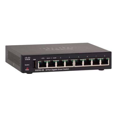 SG250-08-K9-EU Коммутатор Cisco SG250-08 8-Port Gigabit Smart Switch